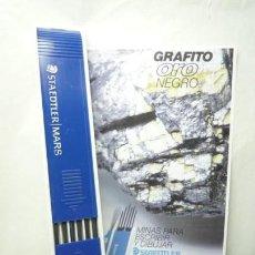 Escribanía: STAEDTLER CAJA DE 12 MINAS GRAFITO 2 MM MARS LUMOGRAPH 200 4H. GERMANY 70'S. Lote 146027934