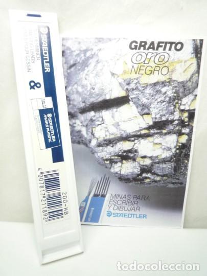 Escribanía: STAEDTLER CAJA DE 12 MINAS GRAFITO 2 MM MARS LUMOGRAPH 200 HB. GERMANY 90'S - Foto 2 - 146028922