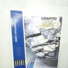 Escribanía: STAEDTLER CAJA DE 12 MINAS GRAFITO 2 MM MARS LUMOGRAPH 200 B. GERMANY 90'S. Lote 154549216