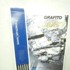 Escribanía: STAEDTLER CAJA DE 12 MINAS GRAFITO 2 MM MARS LUMOGRAPH 200 3B. GERMANY 80'S. Lote 146034382