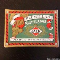 Escribanía: ANTIGUA CAJA PLUMILLAS JAER NIQUELADAS 72. MUY BUEN ESTADO. Lote 148072817