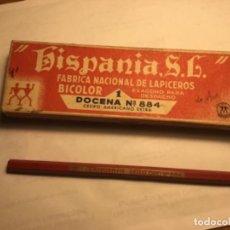 Escribanía: CAJA LÁPICES HISPANIA BICOLOR CON UN LÁPIZ. Lote 152343614