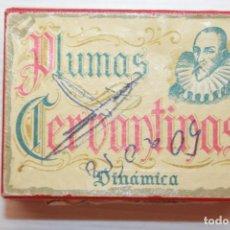 Escrita: CAJA DE PLUMAS CERVANTINAS, CON MUCHO CONTENIDO PERO VARIADO, 7X5 CM. Lote 213306797