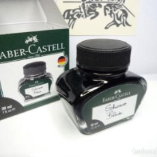 Escribanía: FABER CASTELL TINTERO CRISTAL 30 ML. TINTA BORRABLE COLOR NEGRA. GERMANY. Lote 204843766