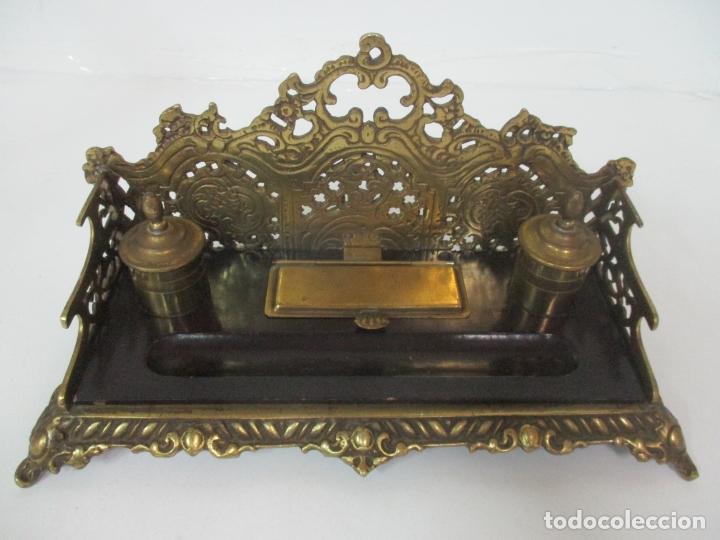 Escribanía: Bonita Escribanía - Bronce calado y Cincelado - Napoleón III, Francia - Tinteros - Finales S. XIX - Foto 3 - 170203504