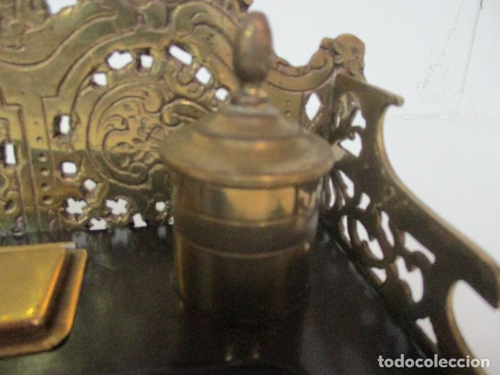 Escribanía: Bonita Escribanía - Bronce calado y Cincelado - Napoleón III, Francia - Tinteros - Finales S. XIX - Foto 7 - 170203504
