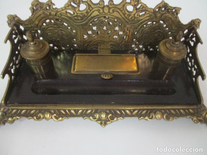 Escribanía: Bonita Escribanía - Bronce calado y Cincelado - Napoleón III, Francia - Tinteros - Finales S. XIX - Foto 8 - 170203504