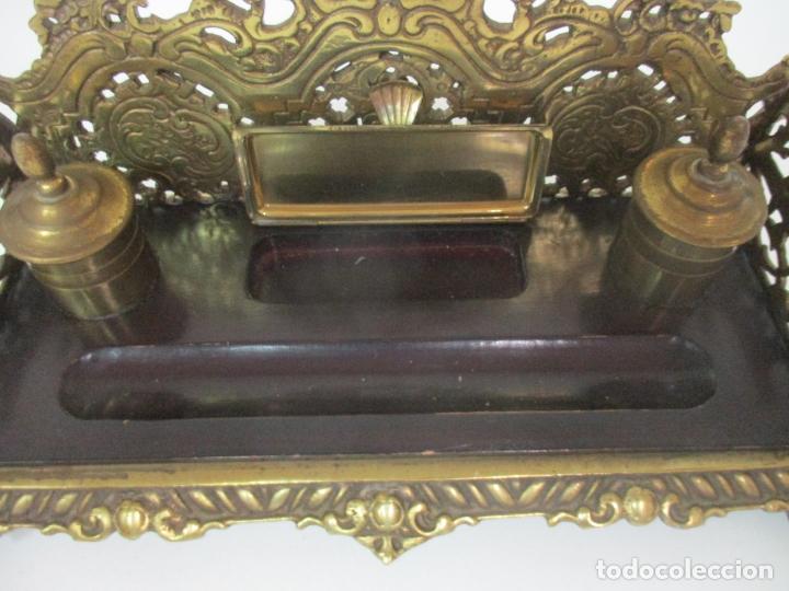 Escribanía: Bonita Escribanía - Bronce calado y Cincelado - Napoleón III, Francia - Tinteros - Finales S. XIX - Foto 10 - 170203504