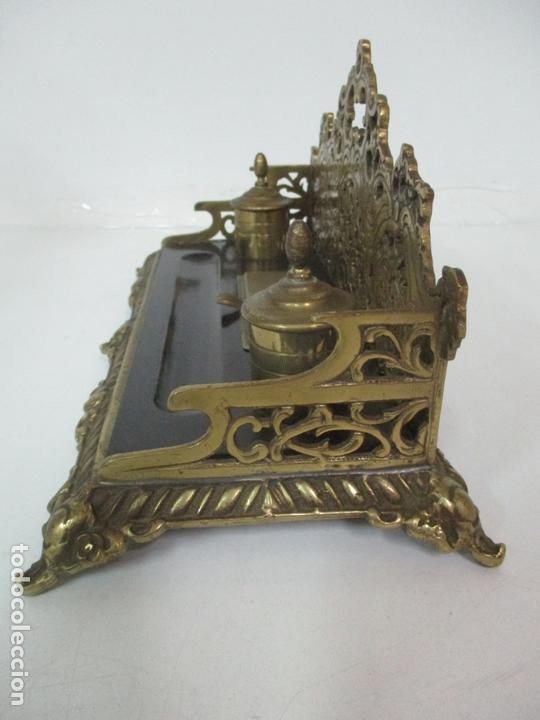 Escribanía: Bonita Escribanía - Bronce calado y Cincelado - Napoleón III, Francia - Tinteros - Finales S. XIX - Foto 14 - 170203504