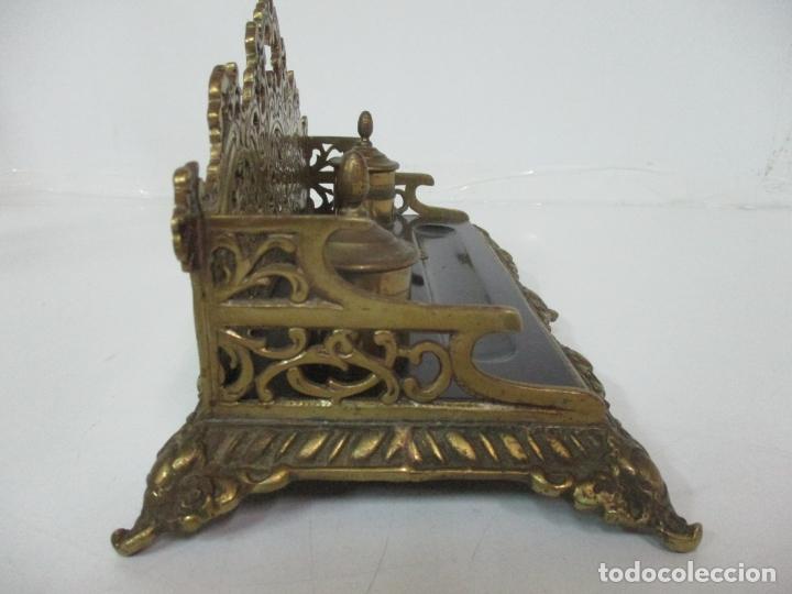 Escribanía: Bonita Escribanía - Bronce calado y Cincelado - Napoleón III, Francia - Tinteros - Finales S. XIX - Foto 17 - 170203504
