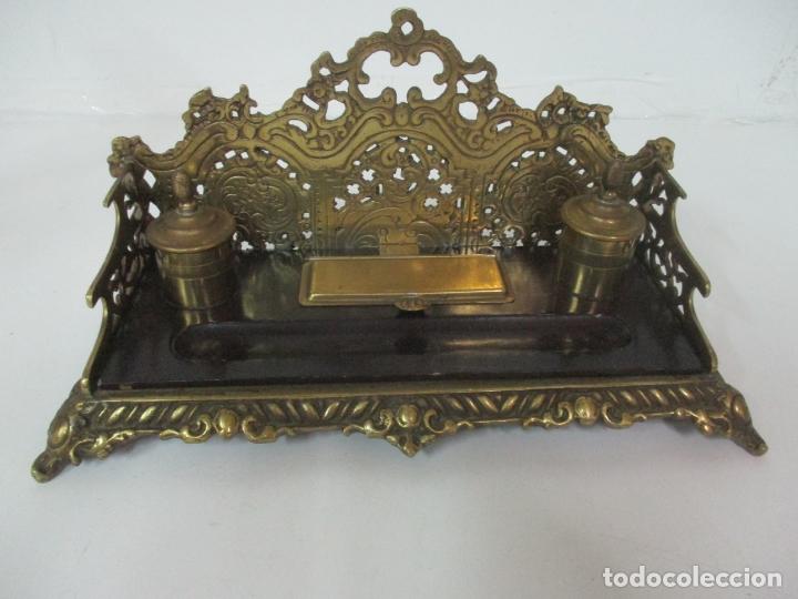 Escribanía: Bonita Escribanía - Bronce calado y Cincelado - Napoleón III, Francia - Tinteros - Finales S. XIX - Foto 18 - 170203504