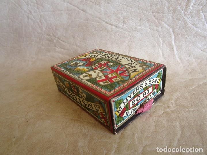 Escribanía: antigua caja con sus plumillas m. myers & son colonial pen plumilla extra fina - Foto 4 - 149569974