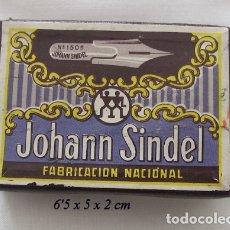 Escribanía: CAJA DE PLUMILLAS JOHANN SINDEL ANTIGUA CON PLUMILLAS. Lote 176913037