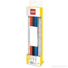 Escribanía: LEGO PACK 3 BOLÍGRAFOS DE GEL DE VARIOS COLORES: ROJO, NEGRO Y AZUL. Lote 178338160