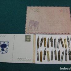 Escribanía: 24 PLUMILLAS, CALIGRAFÍA, TARJETAS POSTALES, ESCRITURA, . Lote 179518091