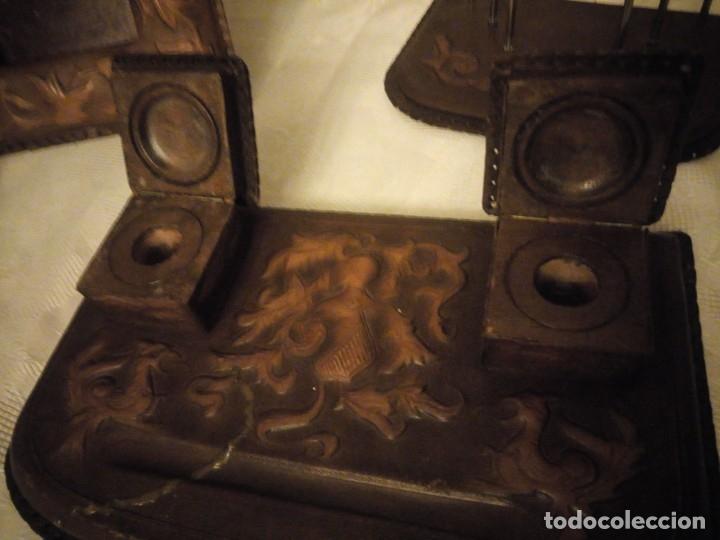 Escribanía: Antigua Escribana Cuero Repujado, compuesta de 9 piezas,años 30/40 - Foto 12 - 181951710