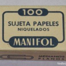Escribanía: ANTIGUA CAJA DE CLIPS SUJETA PAPELES NIQUELADOS MANIFOL MEDIANOS PLANOS (100) NOS VINTAGE STATIONERY. Lote 182244777