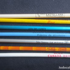 Escribanía: 7 LAPICEROS CON PUBLICIDAD- LA PITUSA - CANADA DRY - KAS - AGUA DEL CARMEN - ANIS CASTELLANA. Lote 183271211