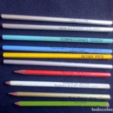 Escribanía: 10 LAPICEROS CON RECLAMOS PUBLICITARIOS DE CONFECCIONES Y CALZADOS. Lote 183315963