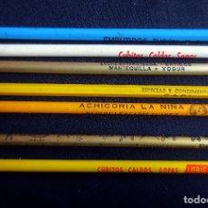 Escribanía: 7 LAPICEROS CON PUBLICIDAD - EMBUTIDOS TURON - ACHICORIA LA NIÑA - CONDIMENTOS CAPI - SIN USAR. Lote 183318321