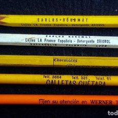 Escribanía: 5 LAPICEROS CON RECLAMOS PUBLICITARIOS- GALLETAS CUETARA - LEJIAS LA FRANCA - CHOCOLATE EZQUERRA . Lote 183322600