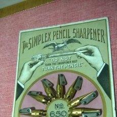 Escribanía: ANTIGUO/PRECIOSO EXPOSITOR DE SACAPUNTAS **THE SIMPLEX PENCIL SHARPENER--EAGLE**USA PATENTE AÑO 1906. Lote 184874212