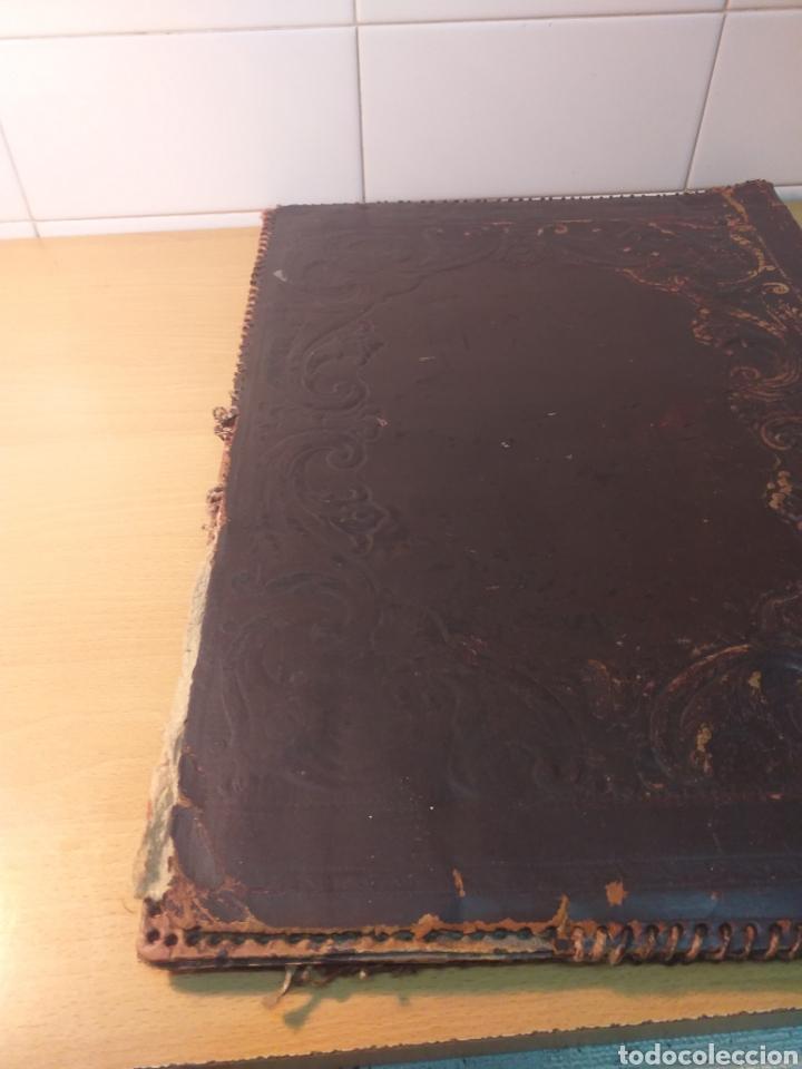 Escribanía: Antigua carpeta porta documentos cuero repujado - Foto 5 - 192175798