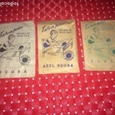 Escribanía: TINTA EN POLVO - AÑOS 50 - PRODINA - VALENCIA - 3 SOBRES PARA TINTERO DE COLORES DIFERENTES. Lote 194175363