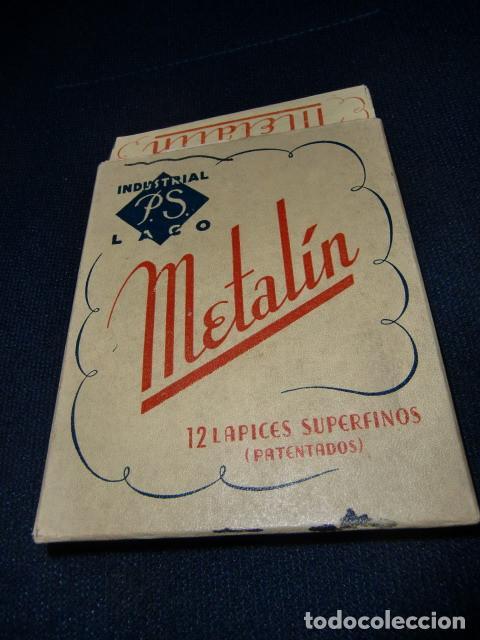 Escribanía: Caja lápices de cera marca Metalín, años 40 Lápices superfinos Patentados. Industrial PS LACO - Foto 2 - 194993467