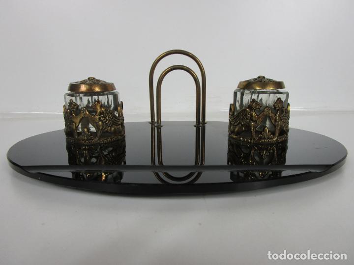 Escribanía: Escribanía - Art Decó - Tapones Cristal - Decoraciones en Bronce - Base Cristal Opalina - Años 20 - Foto 2 - 203050223