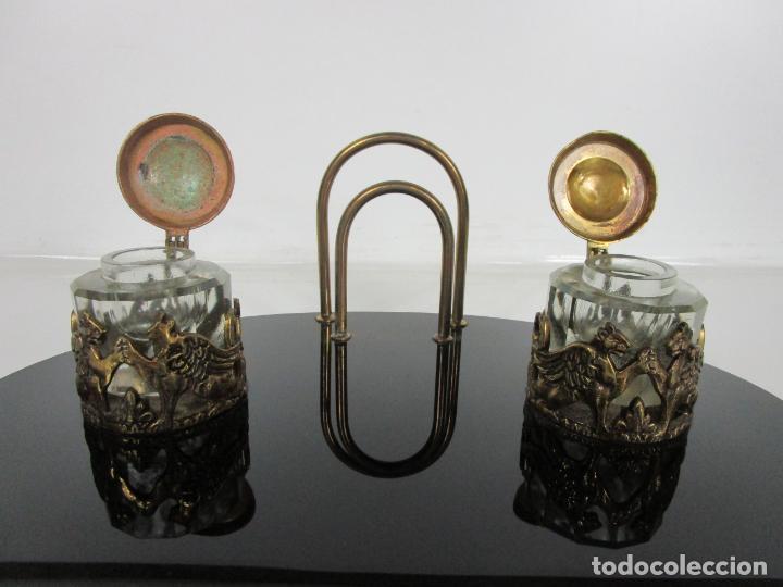 Escribanía: Escribanía - Art Decó - Tapones Cristal - Decoraciones en Bronce - Base Cristal Opalina - Años 20 - Foto 5 - 203050223