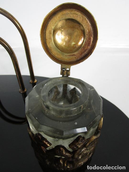Escribanía: Escribanía - Art Decó - Tapones Cristal - Decoraciones en Bronce - Base Cristal Opalina - Años 20 - Foto 6 - 203050223