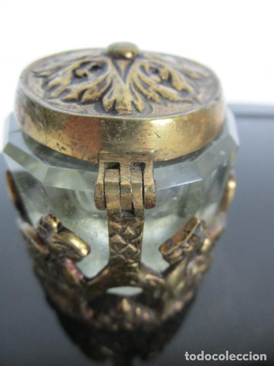 Escribanía: Escribanía - Art Decó - Tapones Cristal - Decoraciones en Bronce - Base Cristal Opalina - Años 20 - Foto 14 - 203050223