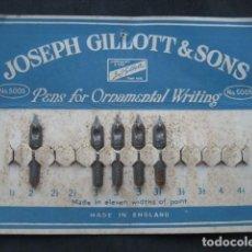 Escribanía: ANTIGUO CARTON PLUMILLAS PLUMAS JOSEPH GILLOTT & SONS.. Lote 208305260