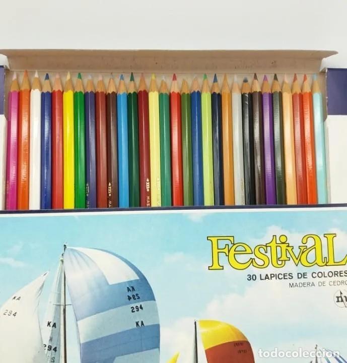Escribanía: Caja de 30 lápices de colores en madera de cedro FESTIVAL, Masats, referencia 1459, EGB, a estrenar - Foto 2 - 211912901