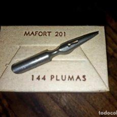 Escribanía: CAJA DE 144 PLUMAS DE ACERO, PLUMILLAS DE ACERO DORDA MAFORT 201.ARGENTINA, SIN USO C.1940. Lote 212429670
