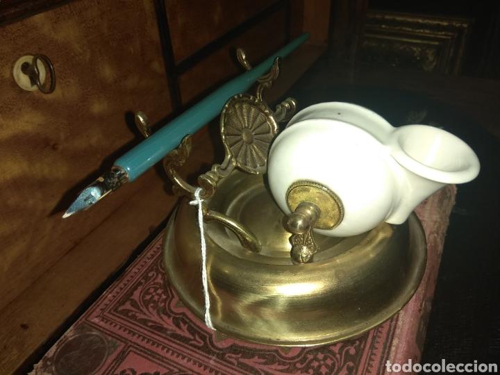 Escribanía: Antiguo Tintero de Porcelana y Bronce XIX - Foto 3 - 214060333
