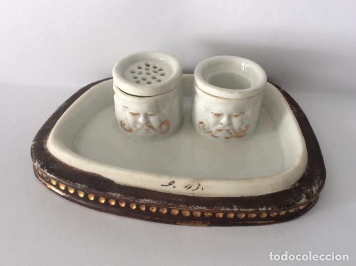 Escribanía: Antigua Escribanía en porcelana Francesa , personajes Jugando a Cartas - Foto 2 - 215873983