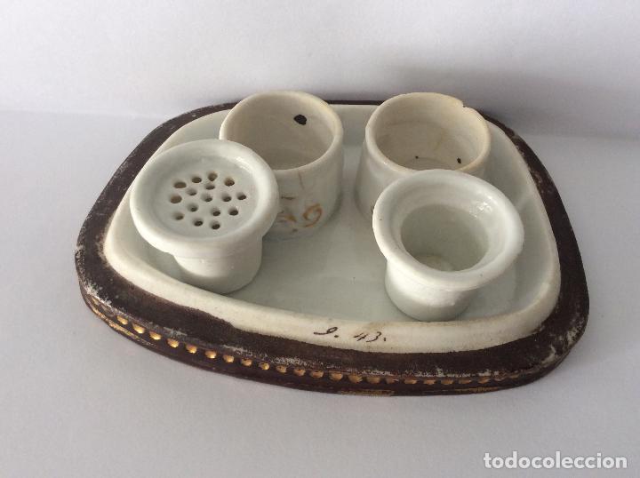 Escribanía: Antigua Escribanía en porcelana Francesa , personajes Jugando a Cartas - Foto 3 - 215873983