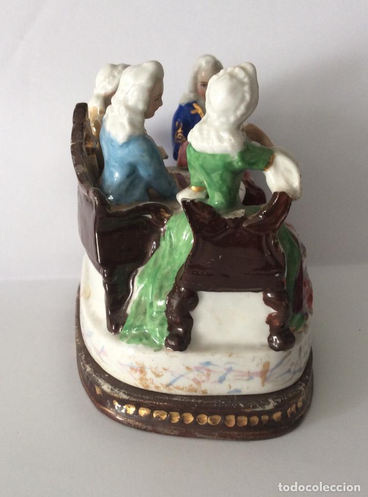 Escribanía: Antigua Escribanía en porcelana Francesa , personajes Jugando a Cartas - Foto 4 - 215873983