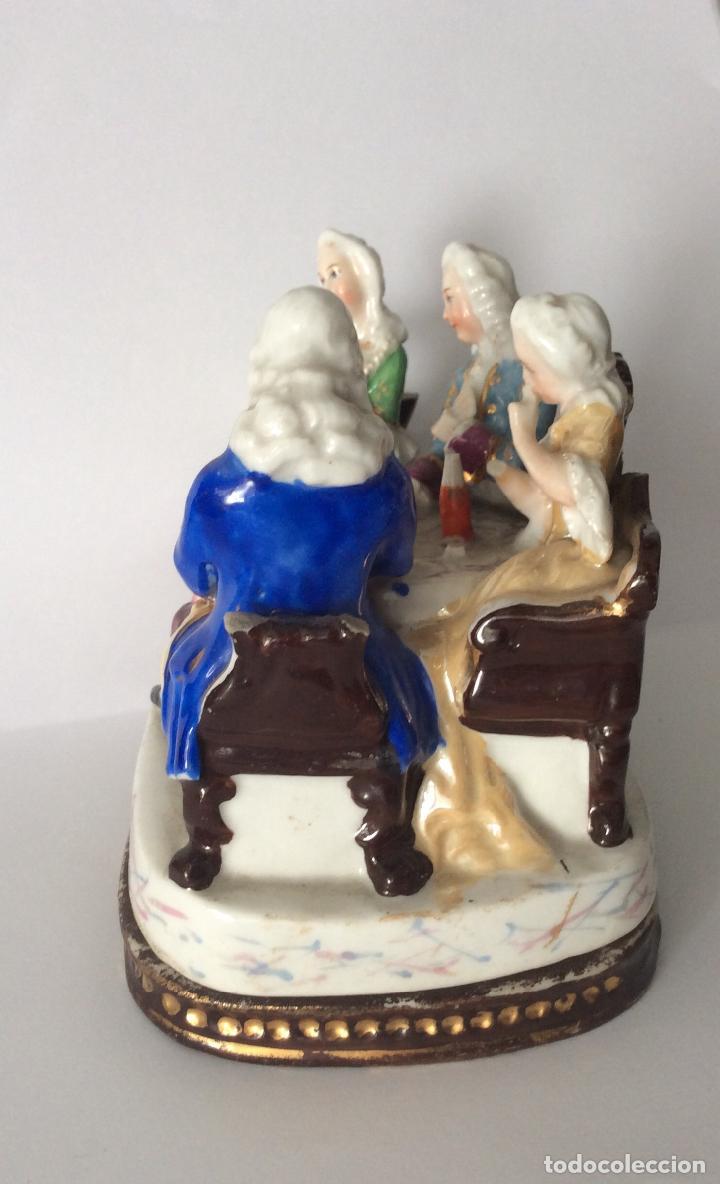 Escribanía: Antigua Escribanía en porcelana Francesa , personajes Jugando a Cartas - Foto 6 - 215873983
