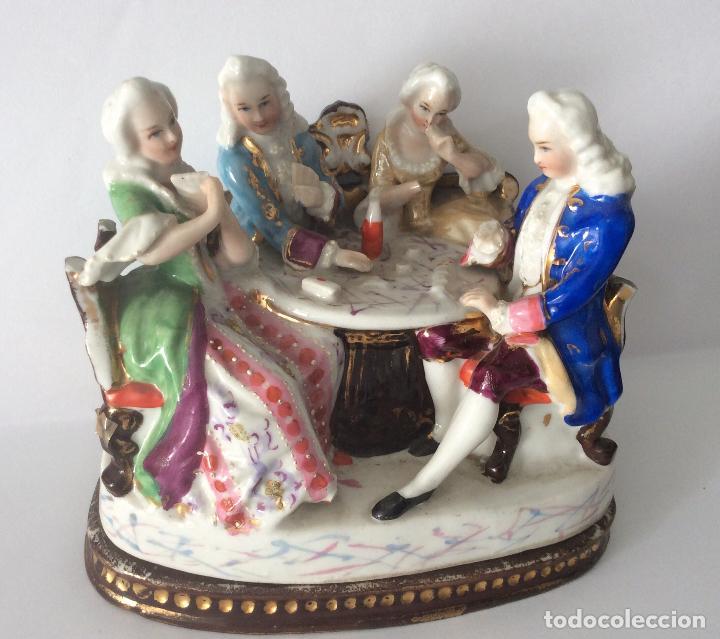 Escribanía: Antigua Escribanía en porcelana Francesa , personajes Jugando a Cartas - Foto 8 - 215873983