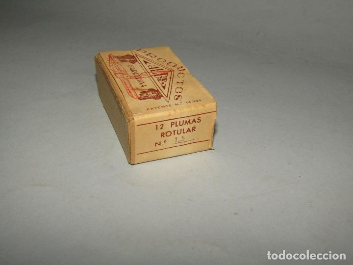Escribanía: Antigua Caja a Estrenar 12 Plumillas Plumas Rotular Nº 1,50 de Productos ALBE Caja sin Desprecintar - Foto 2 - 224224793