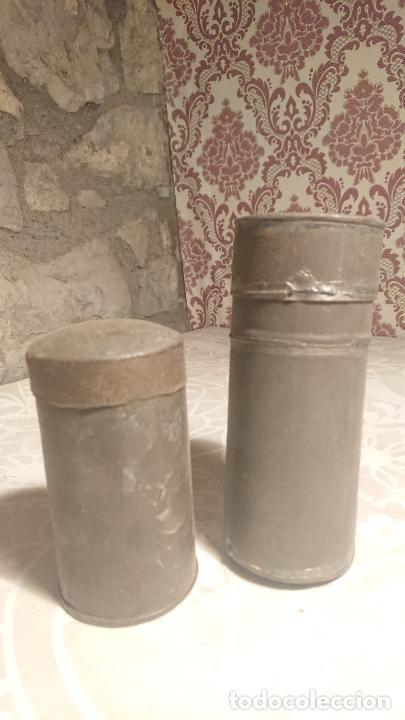 Escribanía: Antiguos 2 tarro / botes / canuto / canutos porta documentos de finales siglo XIX - Foto 2 - 224255477