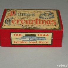 Escribanía: ANTIGUA CAJA A ESTRENAR 100 PLUMILLAS PLUMAS CERVANTINAS DINÁMICA EXTRAFINA IDEAL BANCA Nº 1944. Lote 224436550