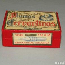 Escribanía: ANTIGUA CAJA A ESTRENAR 100 PLUMILLAS PLUMAS CERVANTINAS DINÁMICA Nº 1932. Lote 224471631