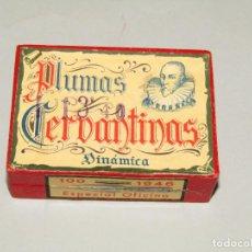 Escribanía: ANTIGUA CAJA A ESTRENAR 100 PLUMILLAS PLUMAS CERVANTINAS DINÁMICA ESPECIAL OFICINA Nº 1946. Lote 224471791