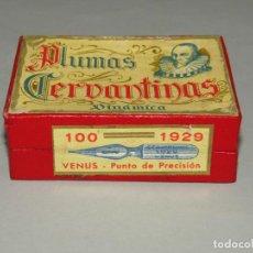 Escribanía: ANTIGUA CAJA A ESTRENAR 100 PLUMILLAS PLUMAS CERVANTINAS DINÁMICA VENUS PUNTO DE PRECISIÓN Nº 1929. Lote 224471941