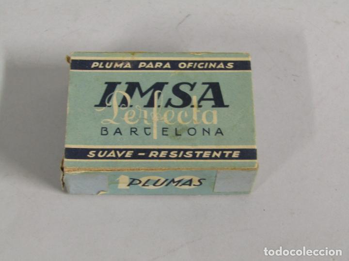 Escribanía: Antigua Caja de Plumillas Plumas Niqueladas Perfecta Nº 15 de IMSA - Foto 5 - 225492950