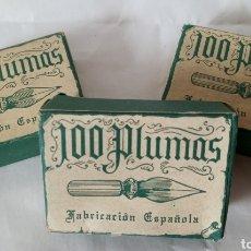 Escribanía: 100 PLUMAS FABRICACIÓN ESPAÑOLA 3 CAJAS COMPLETAS. Lote 230452220